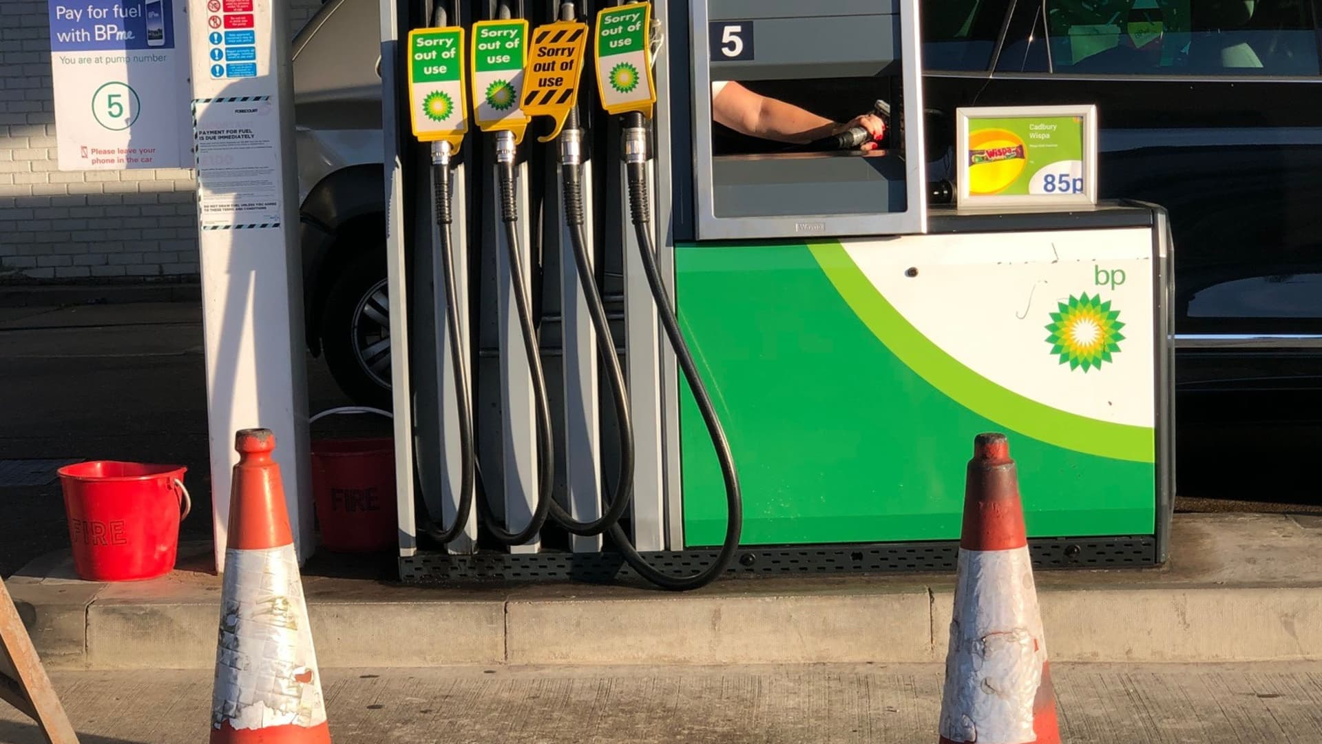 Gasoline pumps out of use as drivers panic buy fuel at a BP gas station in southeast London, U.K., on 26 September 2021.