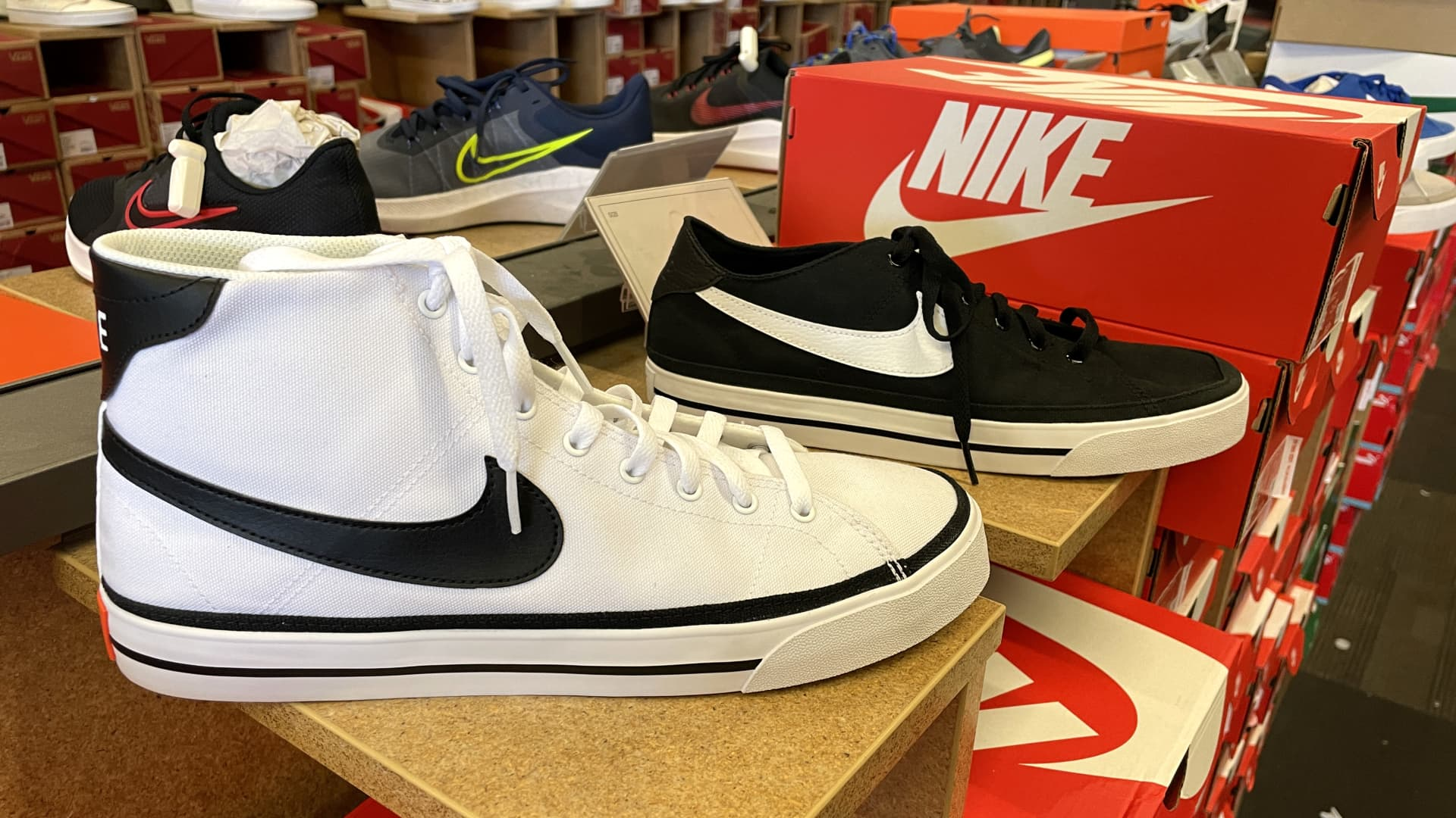 Nike shoes are displayed at a shoe store on September 27, 2021 in Novato, California.