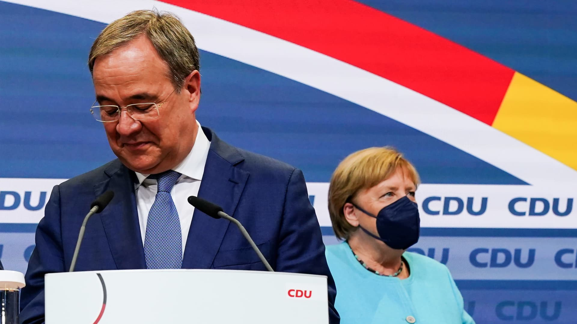 Christian Democratic Union (CDU) party chairman and candidate for the federal elections, Armin Laschet, with German Chancellor Angela Merkel, on September 26, 2021 in Berlin, Germany.