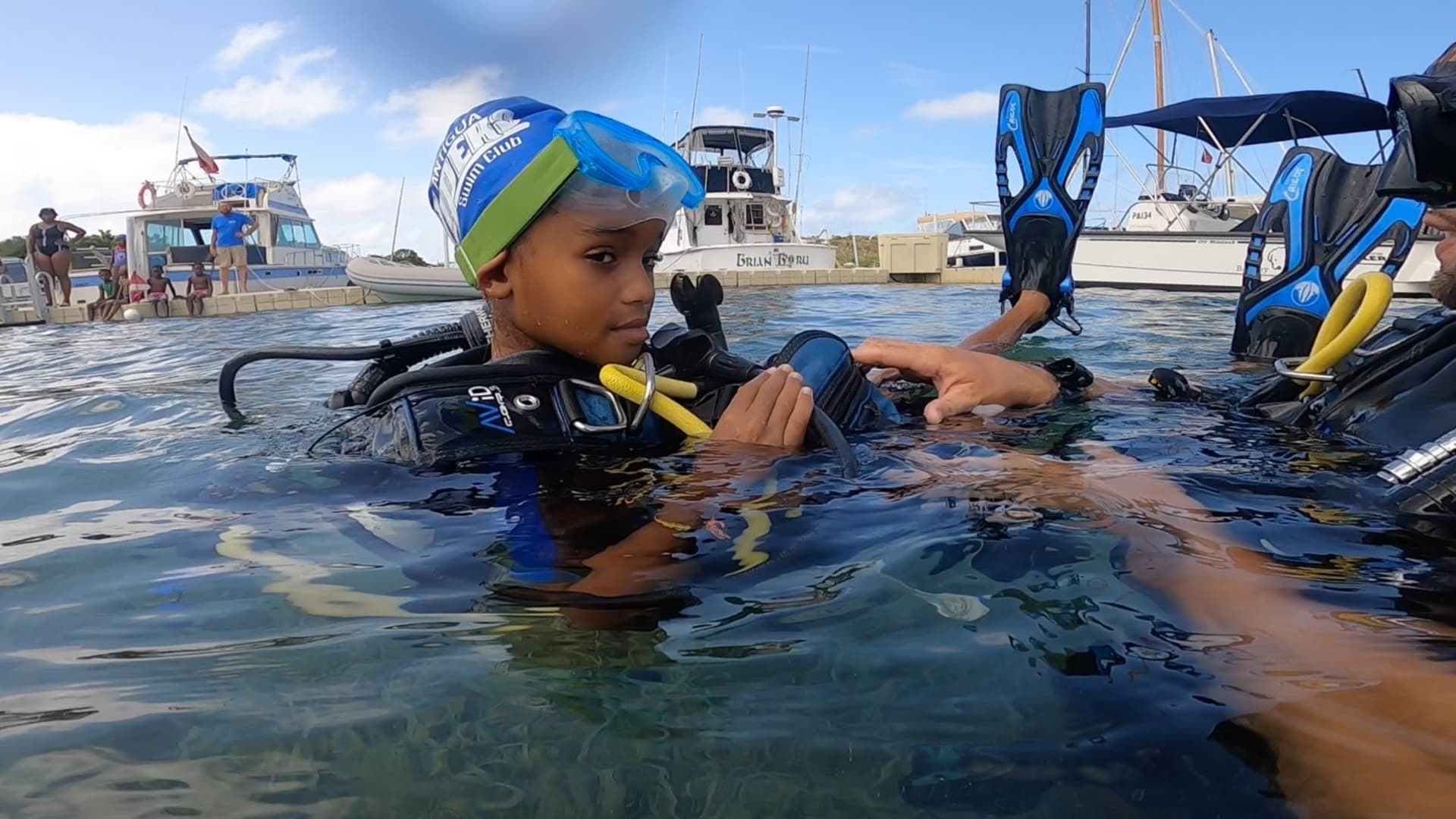 My daughter learned to scuba dive under the close watch of Dive Carib in English Harbor.