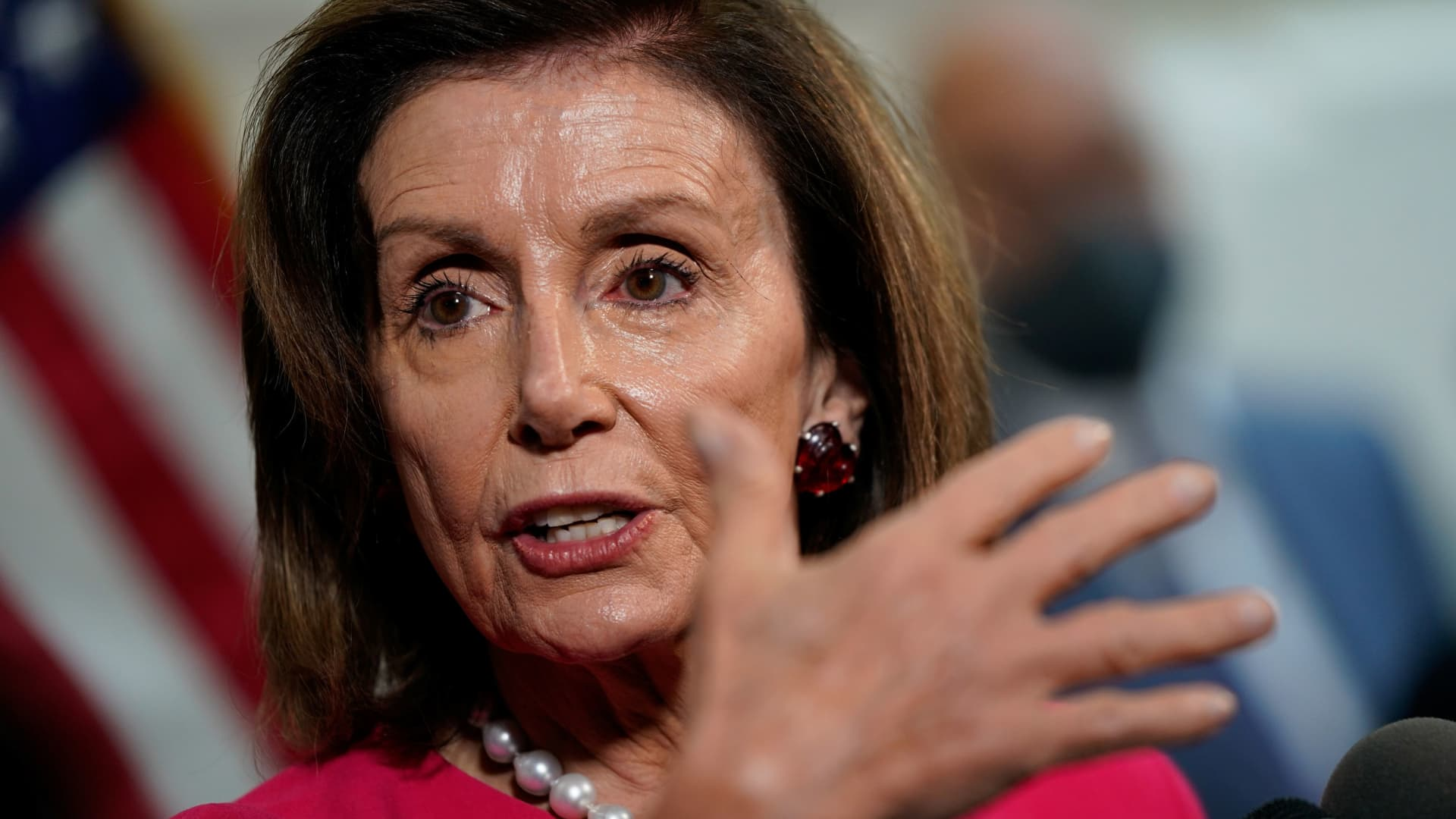 House Speaker Nancy Pelosi (D-CA) speaks to reporters at the U.S. Capitol in Washington, U.S., September 28, 2021.