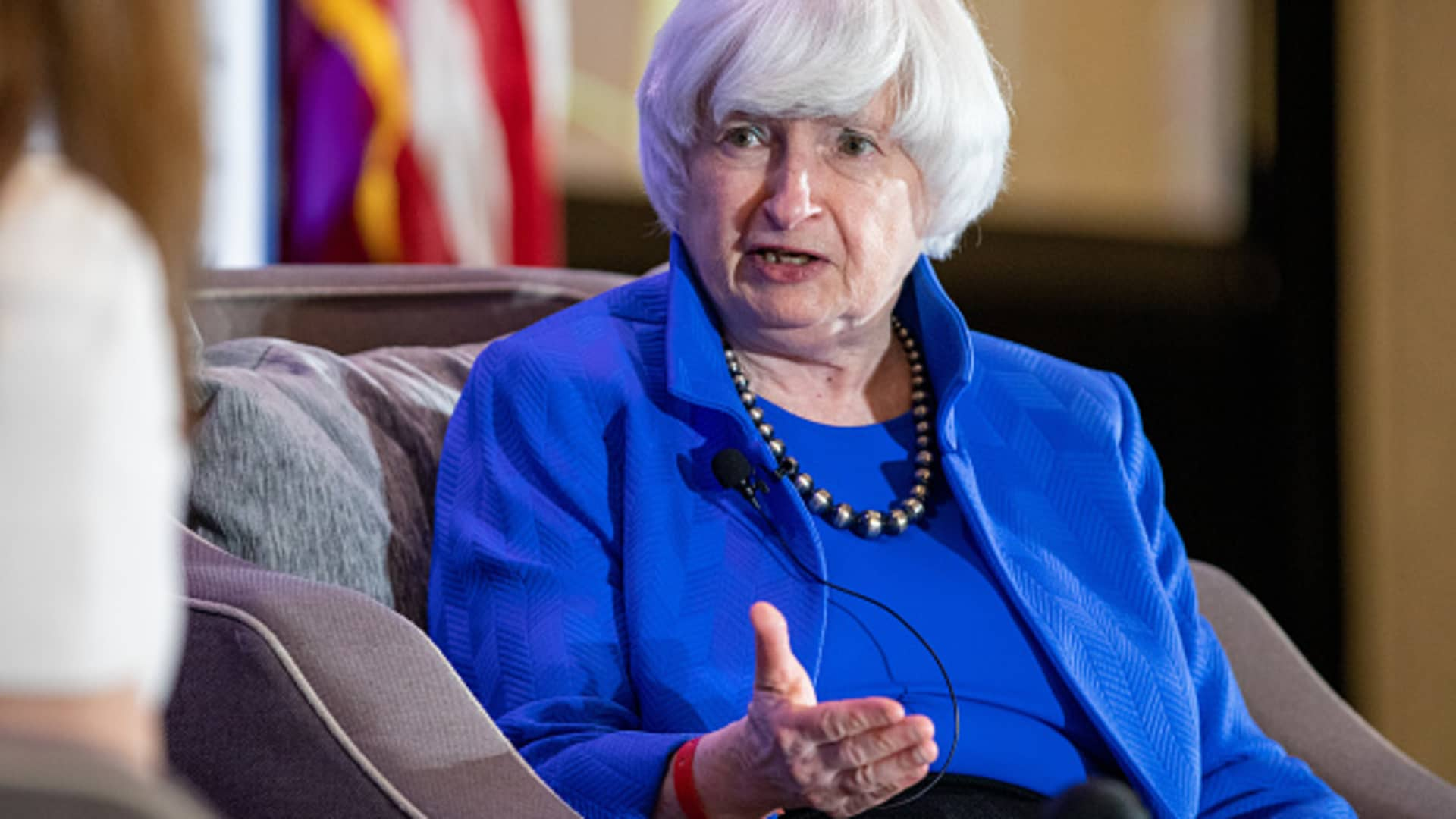Janet Yellen, U.S. Treasury secretary, speaks during an interview at the National Association of Business Economics (NABE) annual meeting in Arlington, Virginia, U.S., on Tuesday, Sept. 28, 2021.