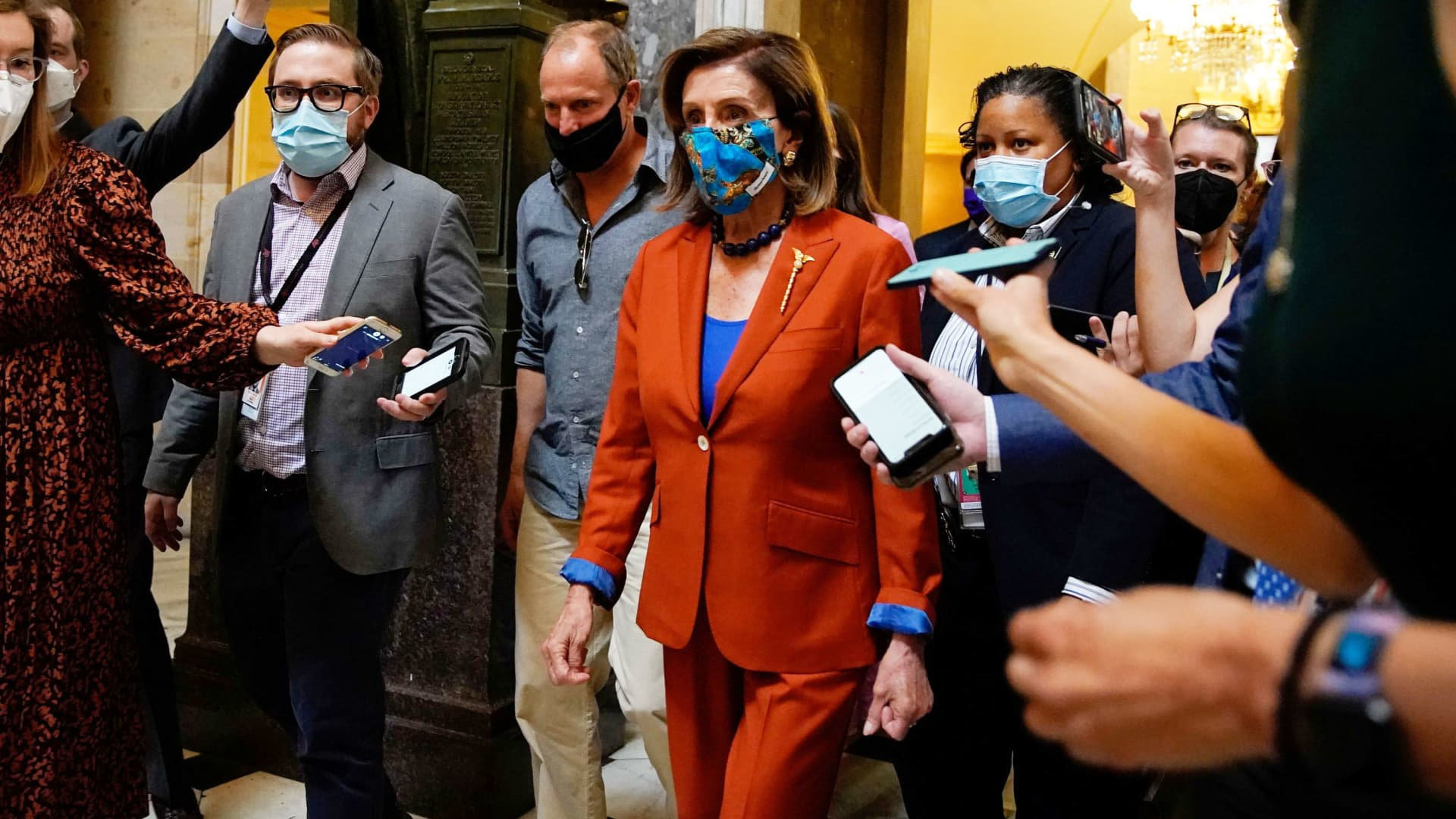 House Speaker Nancy Pelosi (D-CA) walks to the House floor at the U.S. Capitol in Washington, U.S., September 29, 2021.