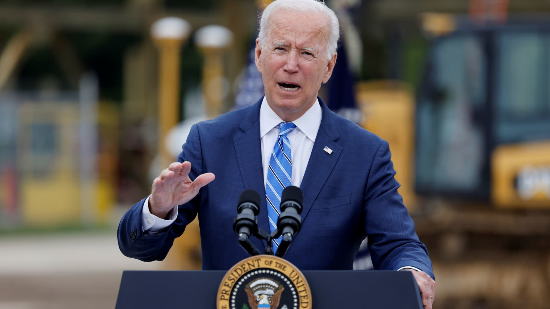 U.S. President Joe Biden delivers remarks on infrastructure investments at the International Union of Operating Engineers Local 324 training facility in Howell, Michigan, October 5, 2021.