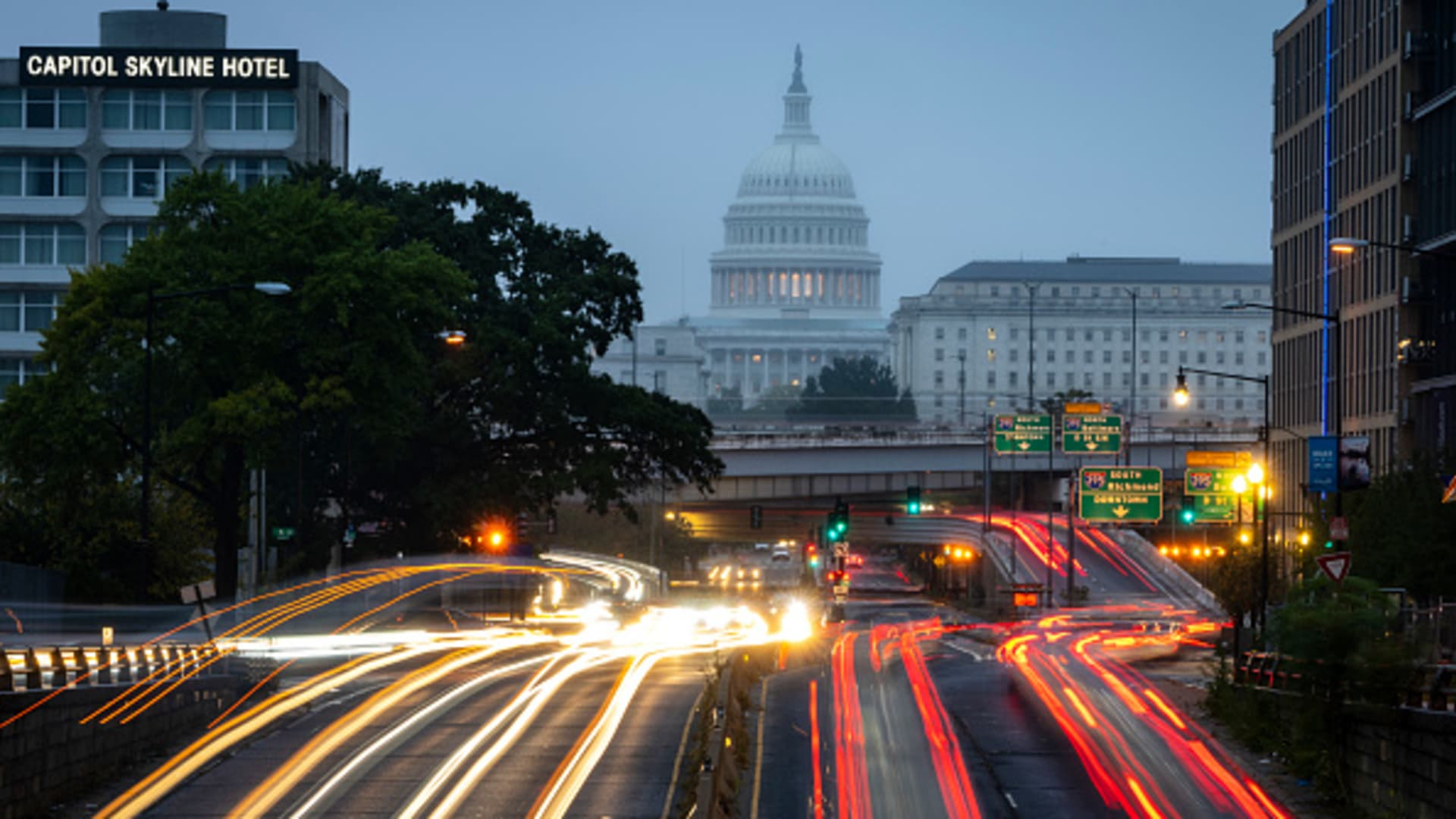 A view of the U.S. Capitol during morning rush hour on Wednesday morning October 6, 2021 in Washington, DC.