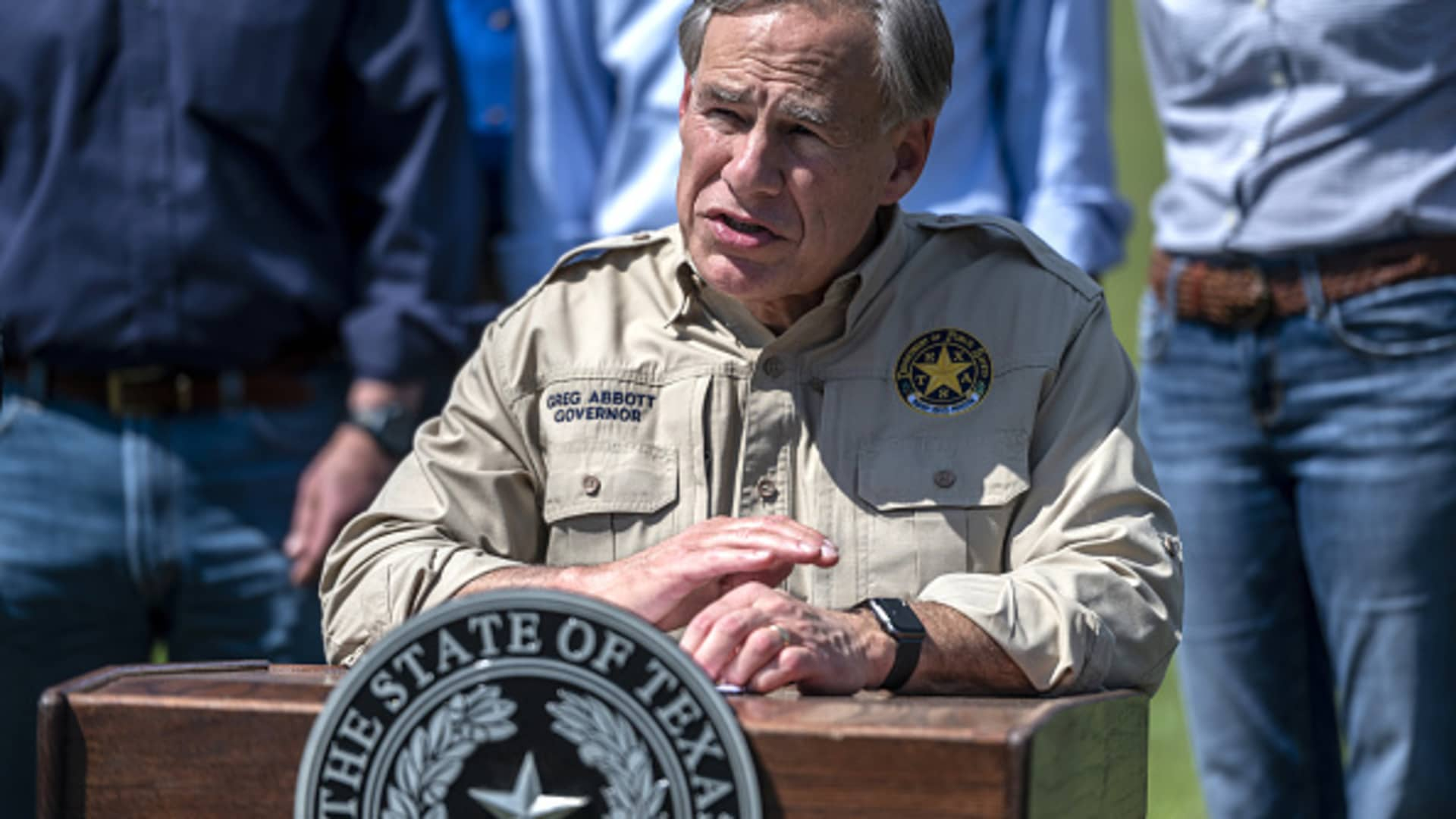 Greg Abbott, governor of Texas, speaks during a news conference in Mission, Texas, on Wednesday, Oct. 6, 2021.