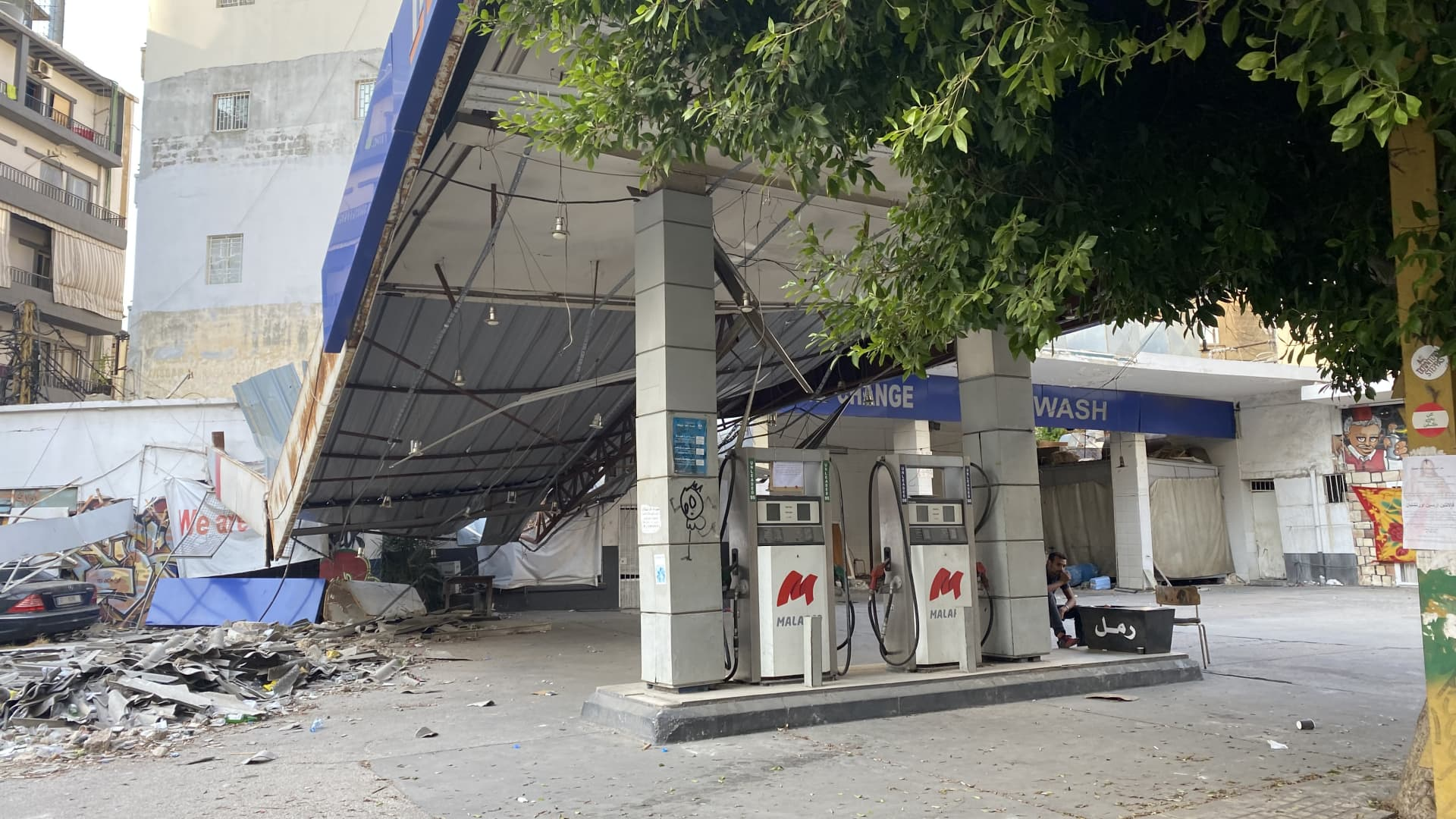 A gas station destroyed in the Beirut port explosion of August 2020 remains unrepaired in the city's Mar Mikhael district, more than a year after the blast. Beirut, Lebanon, September 25, 2021.