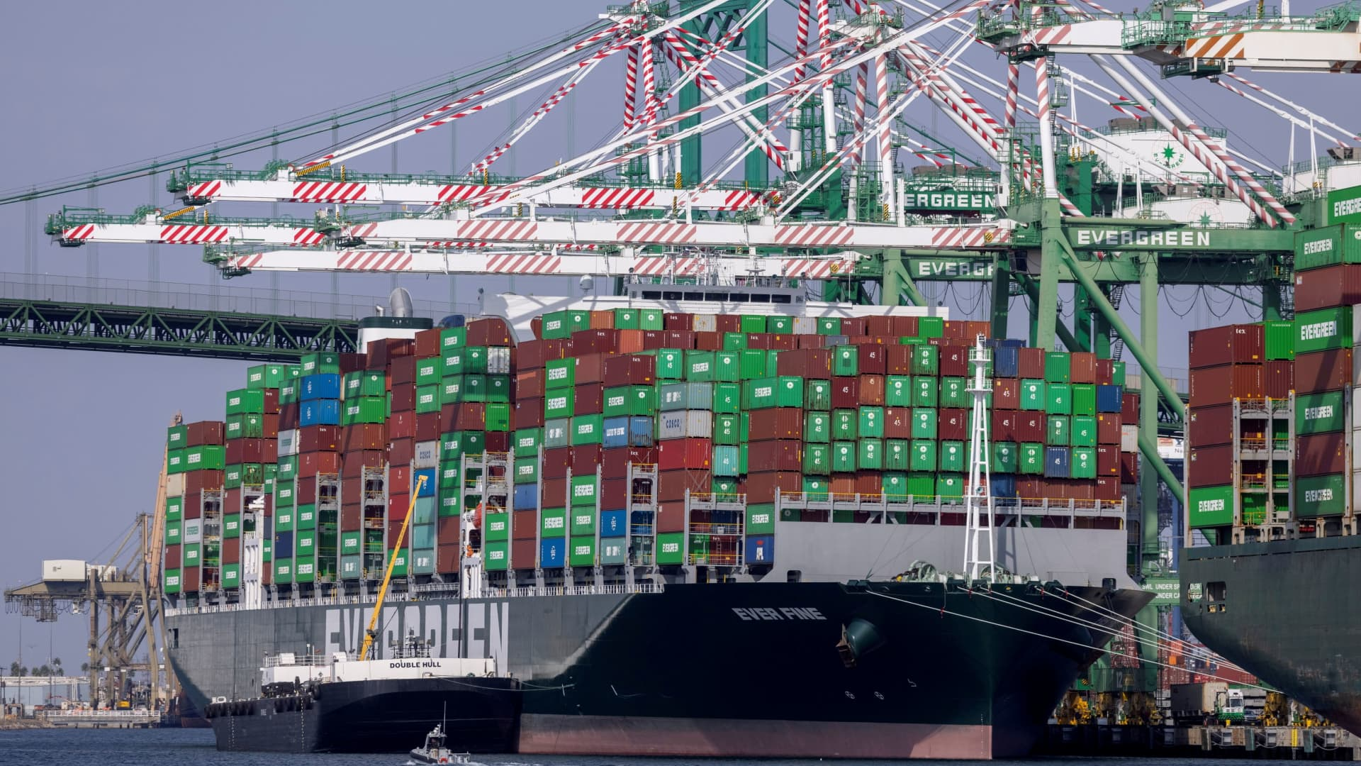 The congested Port of Los Angeles is shown in San Pedro, California, September 29, 2021.