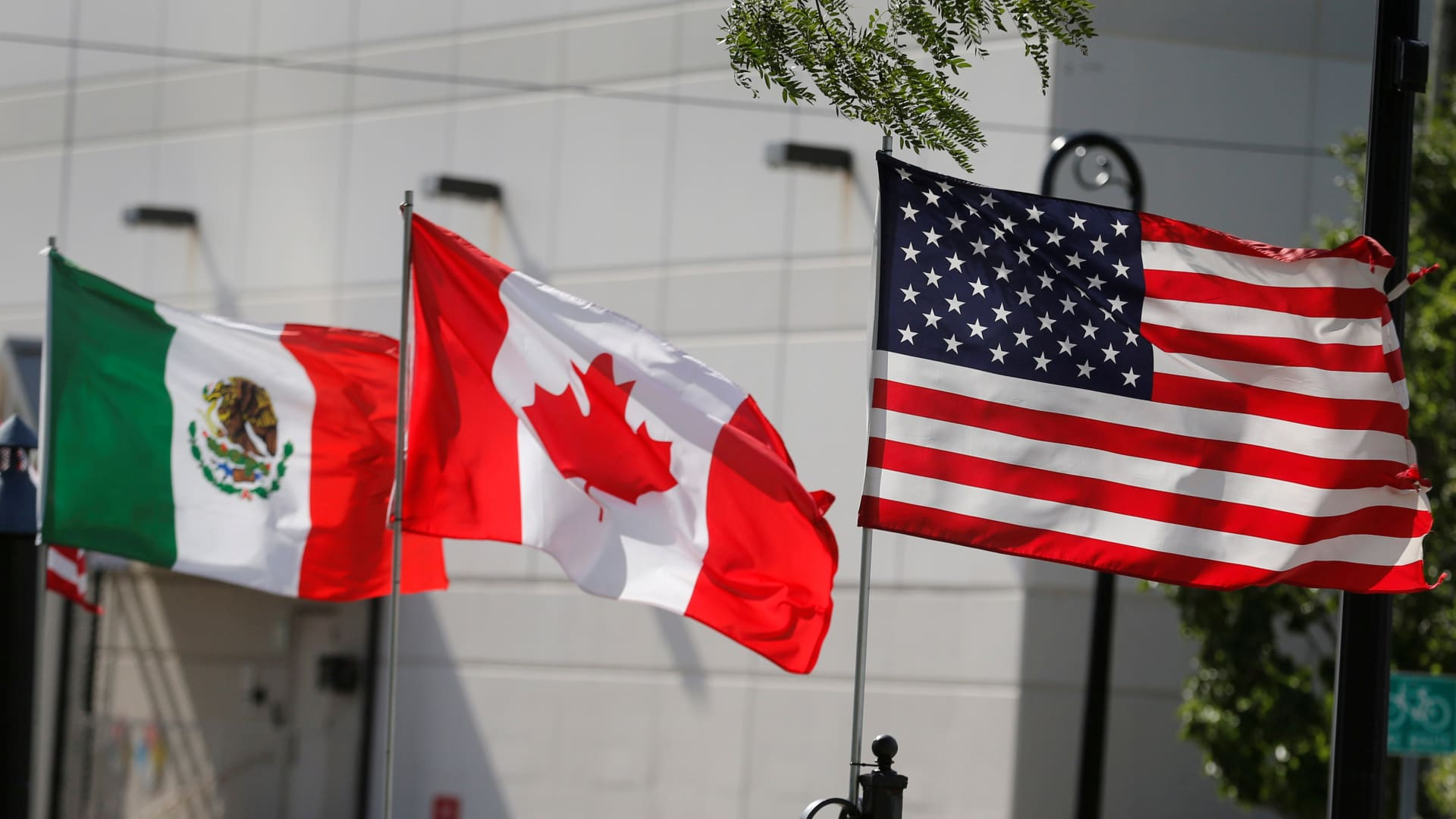 Flags of the U.S., Canada and Mexico fly next to each other in Detroit, Michigan, U.S. August 29, 2018.