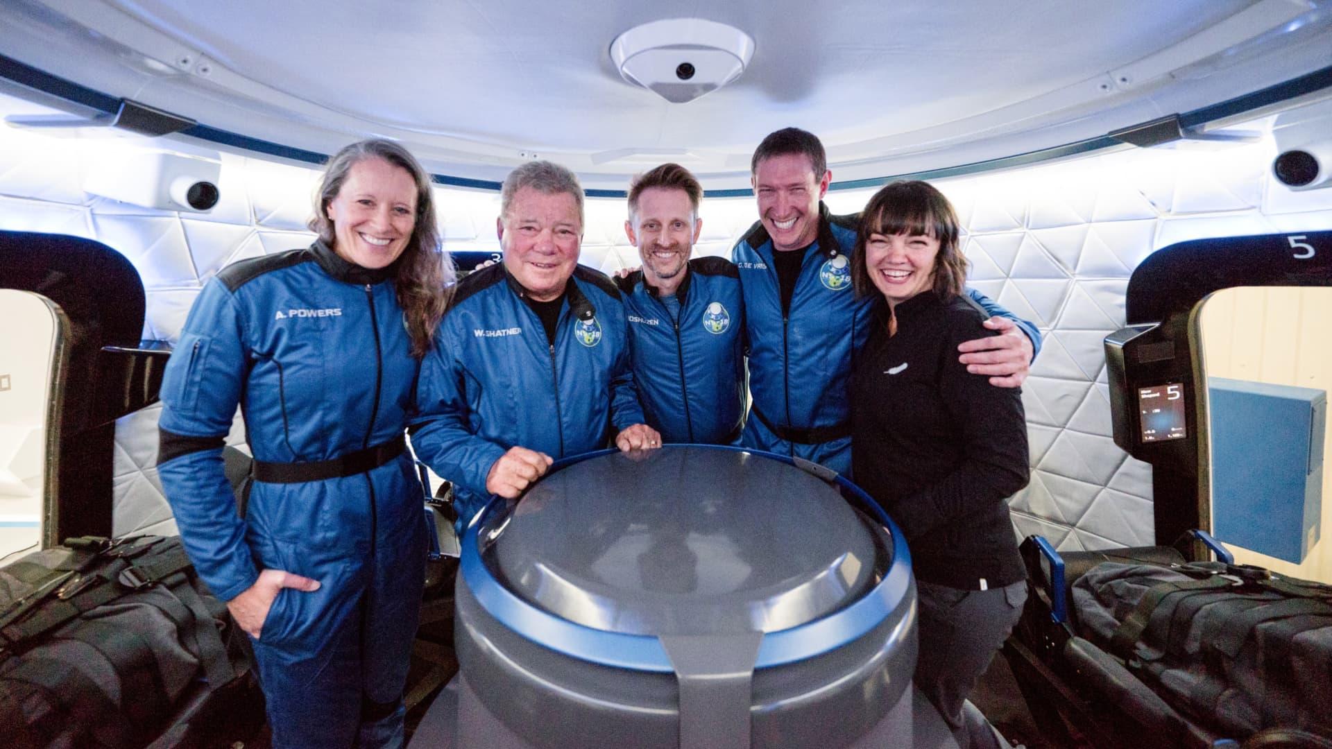 The crew of NS-18, from left: Audrey Powers, William Shatner, Dr. Chris Boshuizen, and Glen de Vries.