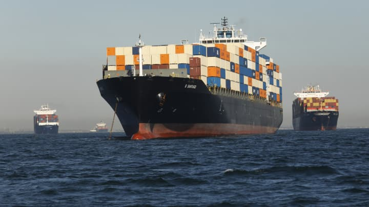 GP: Shipping backlog: Container ships wait outside the Ports of Los Angeles and Long Beach waiting to unload on Oct. 13, 2021.