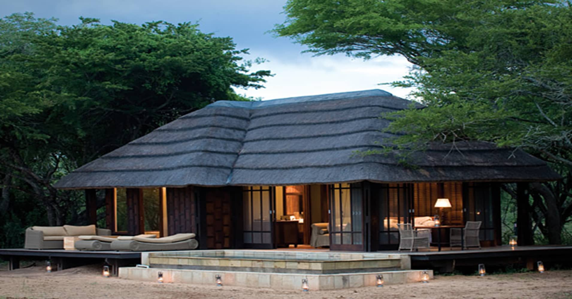 The Homestead Villa comprises four suites, expansive wilderness views, an eternity pool, a private ranger, butler and chef, plus your own 4x4 safari vehicle. Rates range from $3,778 to $5,101 a night, with a limit of four guests. Phinda.com Phinda sits on 56,800 acres of wilderness near South Africa's eastern coast. Africa's Big Five game animals (lion, leopard, elephant, buffalo and rhino) roam the property, along with 415 bird species. First fly from Johannesburg to Richards Bay, then board a